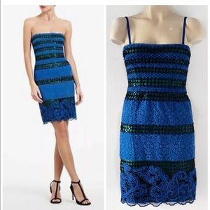 BCBGMAXAZRIA BLUE LACE MANUELA DRESS 4 NWT $398.